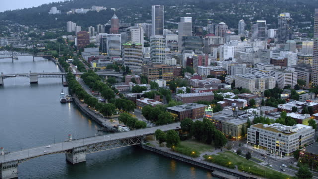 aerial downtown portland and the bridges over the willamette river at sunset - pacific northwest usa stock videos & royalty-free footage