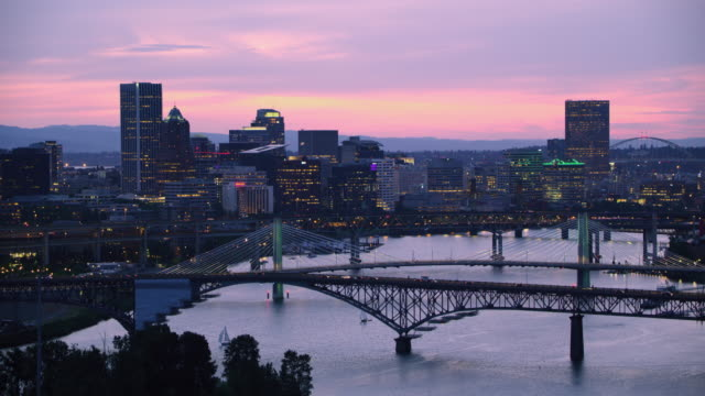 AERIAL Downtown Portland at dusk