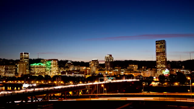 Downtown Portland Day to Night Time Lapse