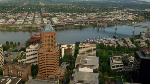 ws aerial ds downtown portland high rise buildings and river / oregon, united states - portland oregon stock videos & royalty-free footage