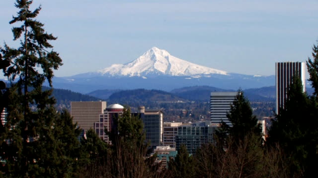 downtown portland & mt. hood - 1of2 - portland oregon stock videos & royalty-free footage