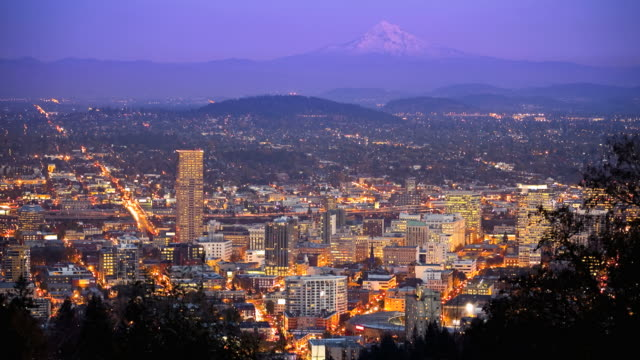 t/l, downtown portland, oregon with mt. hood in the distance - portland oregon mt hood stock videos & royalty-free footage