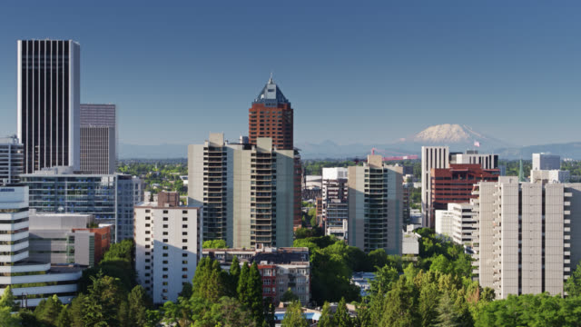 downtown portland, oregon with snowcapped mount hood in background - aerial - portland oregon stock videos & royalty-free footage