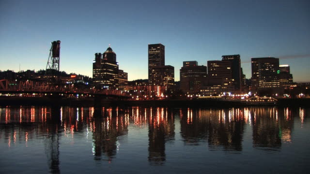 downtown portland waterfront at night - portland oregon stock videos & royalty-free footage