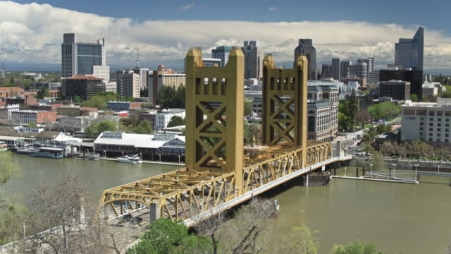downtown sacramento from the west - aerial - sacramento stock videos & royalty-free footage