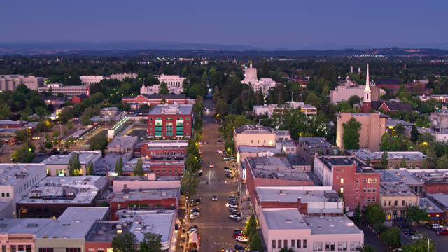 downtown salem, oregon at twilight - aerial - oregon us state stock videos & royalty-free footage