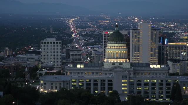 Downtown Salt Lake City, Utah at sunrise.