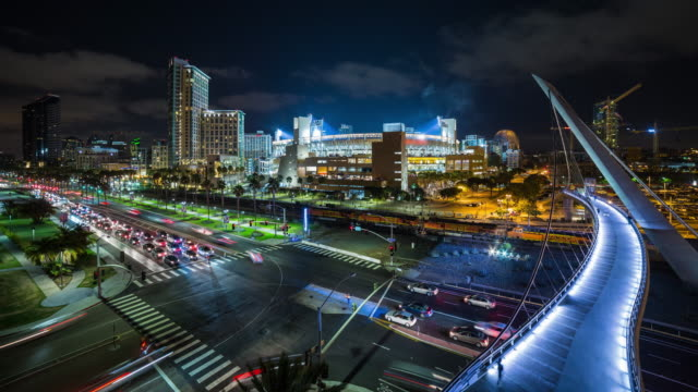 Downtown San Diego and Petco Park Night Timelapse With Freight Train and Trolley