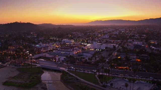 downtown santa barbara at dusk - drone shot - santa barbara california stock videos & royalty-free footage
