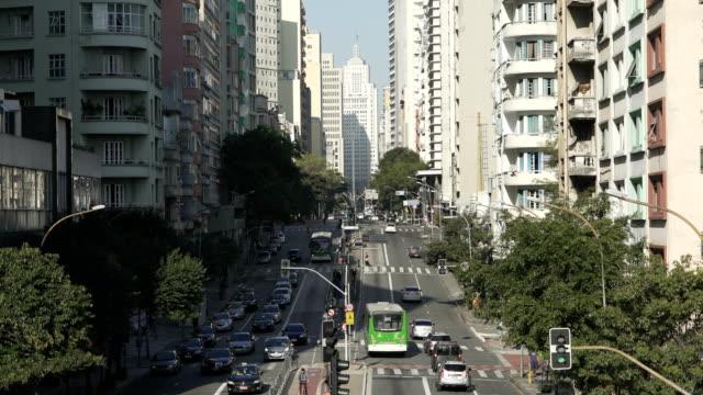 downtown sao paulo - campo totale video stock e b–roll