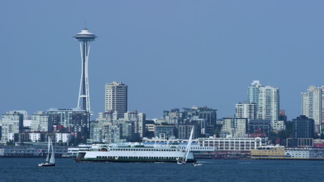 downtown seattle, across the puget sound - waterfront stock videos & royalty-free footage