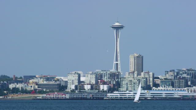 downtown seattle, across the puget sound - pacifico occidentale video stock e b–roll