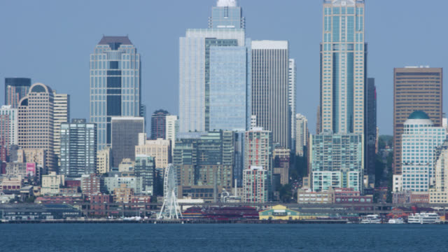 downtown seattle, across the puget sound - puget sound stock videos & royalty-free footage