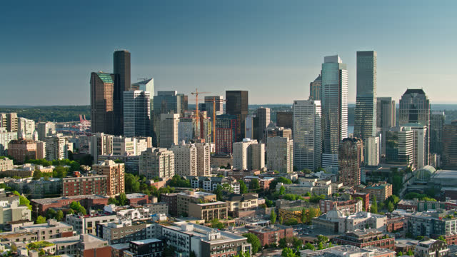 downtown seattle and first hill - aerial - establishing shot stock videos & royalty-free footage