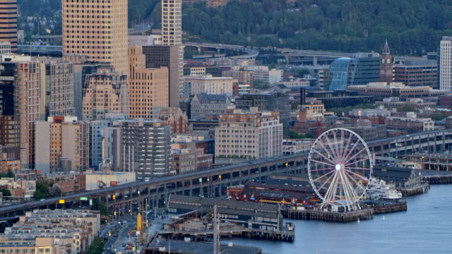 luftbild downtown seattle - seattle stock-videos und b-roll-filmmaterial