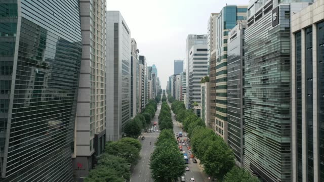 downtown seoul on teheran-ro street / gangnam-gu, seoul, south korea - boulevard video stock e b–roll