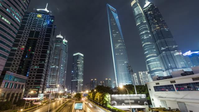 T/L WS PAN Downtown Shanghai at Night / Shanghai, China