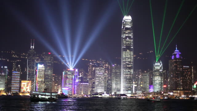 stockvideo's en b-roll-footage met ws downtown skyline across victoria harbor with lights at night / hong kong, china - ferry