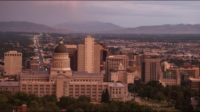 WS HA Downtown skyline at dusk / Salt Lake City, Utah, USA
