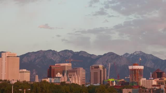 T/L WS HA PAN Downtown skyline at dusk / Salt Lake City, Utah, USA