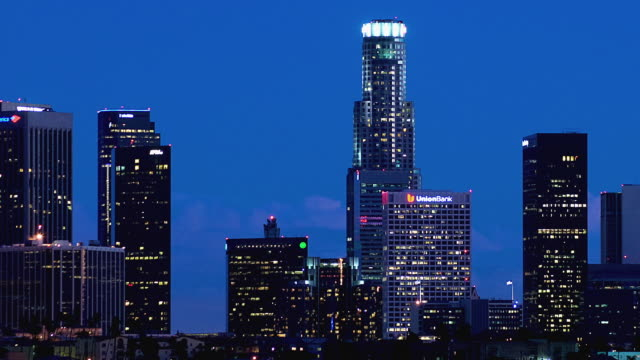 T/L WS PAN Downtown skyline at night / Los Angeles, California, USA