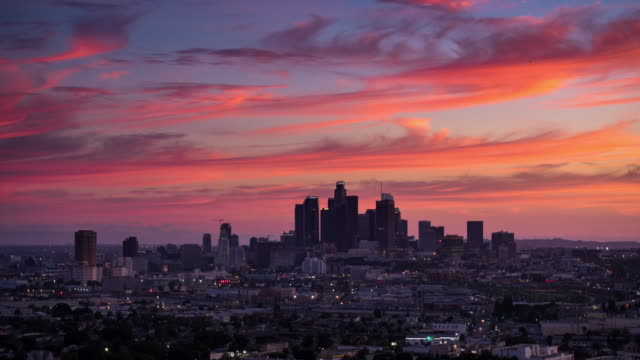 downtown la skyline - day to night time lapse - day to night time lapse stock videos & royalty-free footage