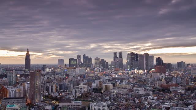 T/L WS HA Downtown skyline, dusk to night transition, Shinjuku, Tokyo, Japan
