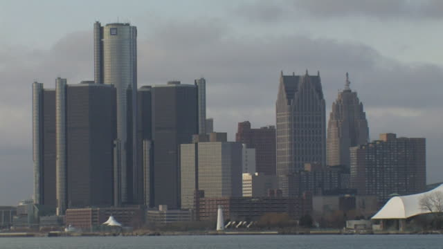 downtown skyline including general motors renaissance center comerica tower penobscot building other highrise buildings mi - general motors stock videos & royalty-free footage