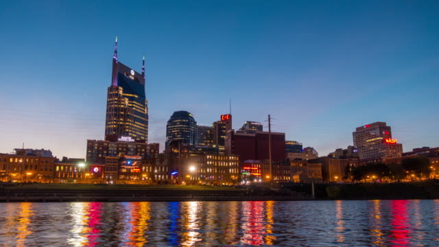 downtown skyline nashville at twilight - nashville stock videos & royalty-free footage