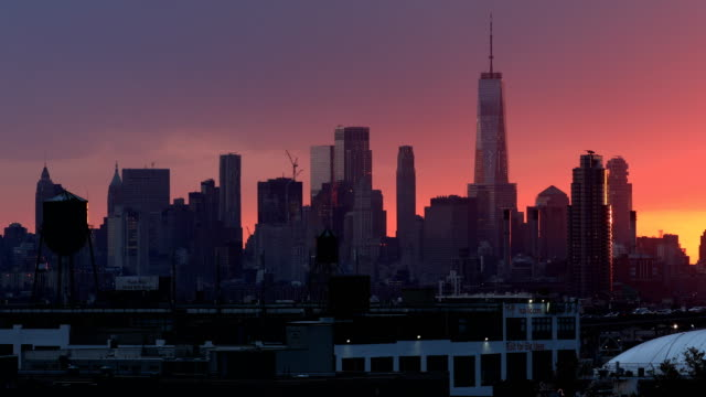 downtown skyline sunset - queens new york city stock videos & royalty-free footage