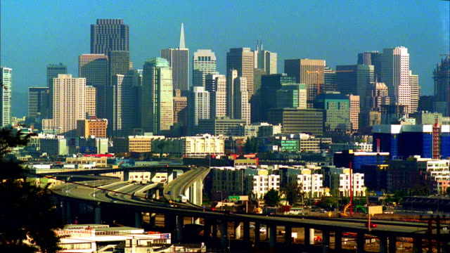 ws, ha, downtown skyline with 280 freeway in foreground, san francisco, california, usa - real time stock videos & royalty-free footage