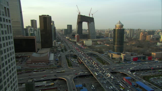 ws ha downtown skyline with heavy traffic, beijing, china - beijing stock videos & royalty-free footage