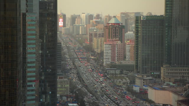 WS HA TU TD Downtown skyline with heavy traffic, Beijing, China