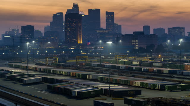 Downtown Skyline with Intermodal Container Yard - Aerial View