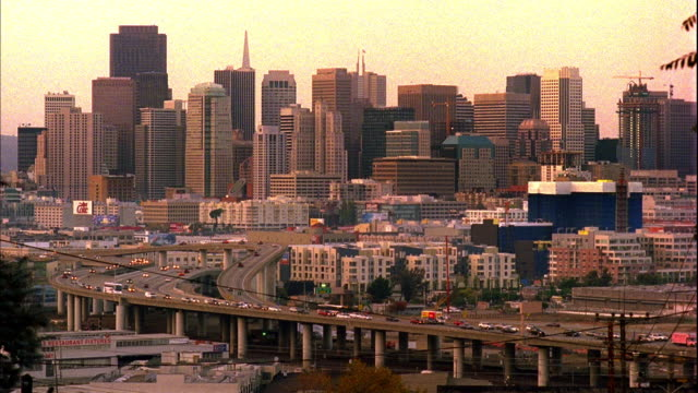 ws, ha, downtown skyline with traffic on freeway in foreground, san francisco, california, usa - real time stock videos & royalty-free footage