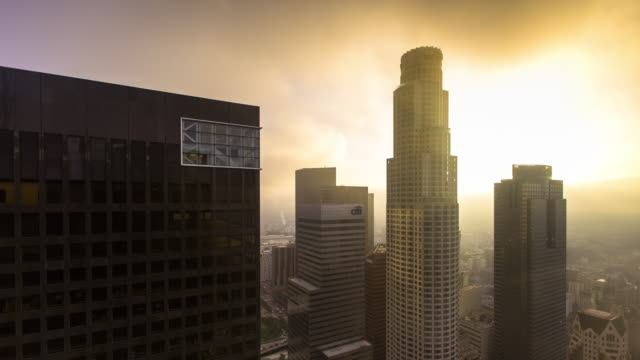 Downtown LA Skyscrapers from Up High on Foggy Day - Time Lapse