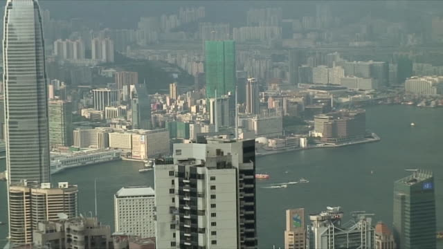 stockvideo's en b-roll-footage met ms zo ws ha pan downtown skyscrapers, hong kong, china - hong kong