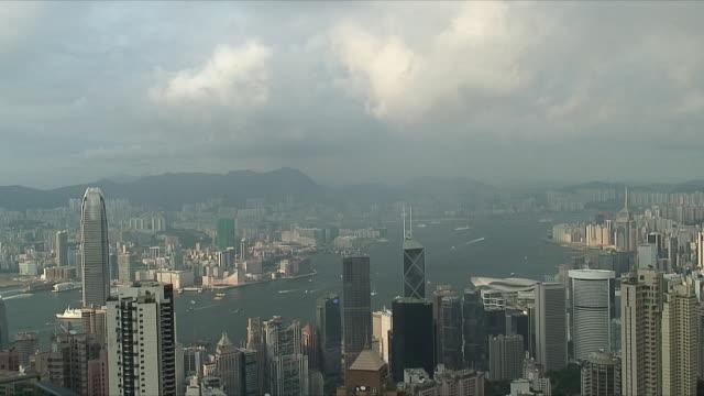 stockvideo's en b-roll-footage met ws ha downtown skyscrapers, hong kong, china - hong kong