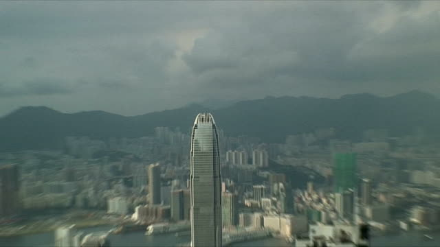 stockvideo's en b-roll-footage met cu zo ws ha downtown skyscrapers with two international finance centre, hong kong, china - hong kong