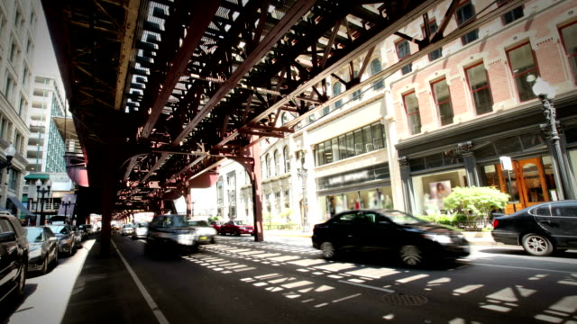 Downtown Street and Elevated Train, Chicago