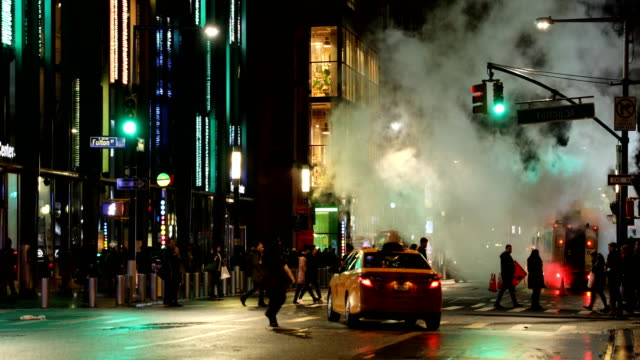 downtown street steam vent - yellow taxi stock videos & royalty-free footage