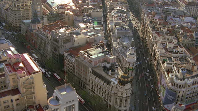 aerial downtown streets and buildings, madrid, spain - road junction stock videos & royalty-free footage