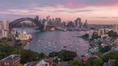 downtown sydney skyline in australia from top view at twilight - north stock videos & royalty-free footage