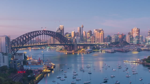 downtown sydney skyline in australia from top view at twilight - new south wales stock videos & royalty-free footage