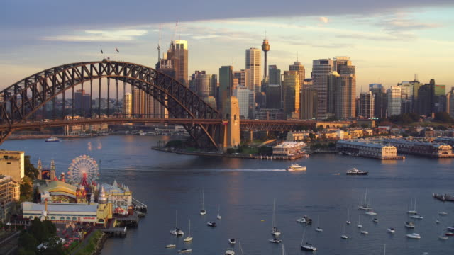 downtown sydney skyline in australia from top view - panoramic stock videos & royalty-free footage