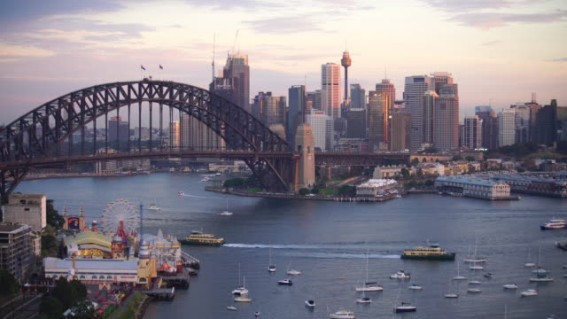 downtown sydney skyline in australia from top view - south stock videos & royalty-free footage