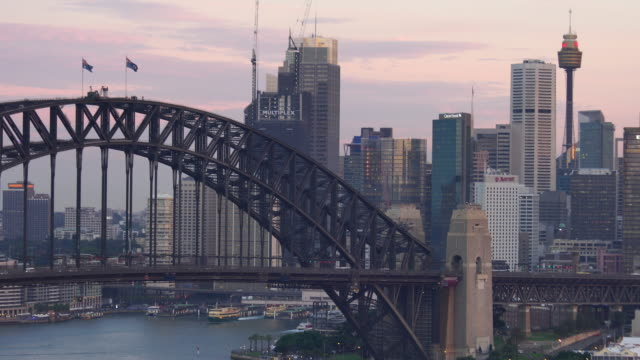 downtown sydney skyline in australia from top view - twilight stock videos & royalty-free footage