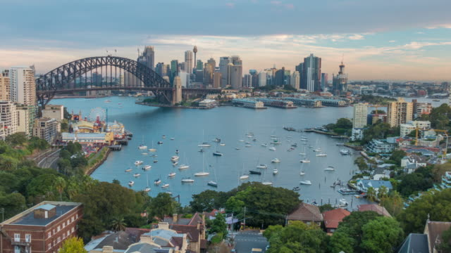 downtown sydney skyline in australia from top view - sydney stock videos & royalty-free footage