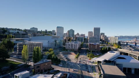 downtown tacoma - aerial view - pierce county washington state stock videos & royalty-free footage