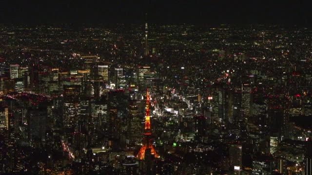 vídeos y material grabado en eventos de stock de aerial, downtown tokyo at night, japan - vista de población